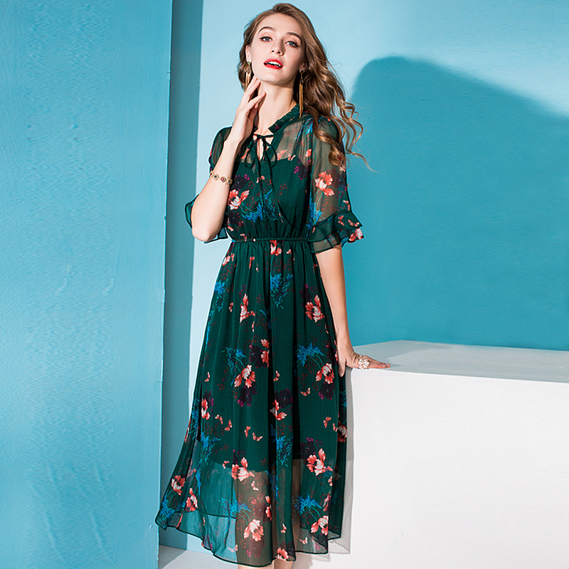 100% Silk Dress Women Printed Tie O Neck A-line Half Flare Sleeves Elastic Waist Long Dress New Fashion Spring 19 2