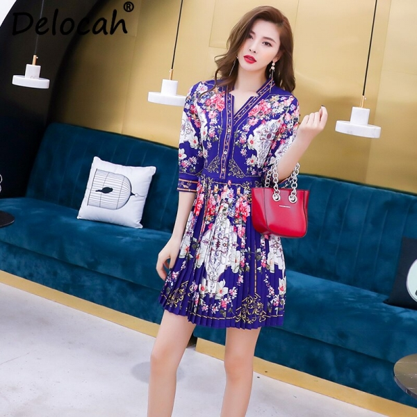 Delocah Women Spring Summer Dress Runway Fashion Designer Half Sleeve Simple Button Flower Printed Vintage Pleated Mini Dresses