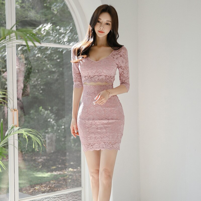 S-XL Plus Size Half Sleeve Sexy Party Dress Women Solid Hollow Out Mini Wrap Fall Dress Womens Autumn Pink Lace Dress for Ladies 2