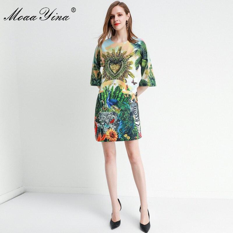 MoaaYina Fashion Designer dress Spring Summer Women's Dress Half sleeve Crystal Beading Loose Elegant Runway Dresses 2