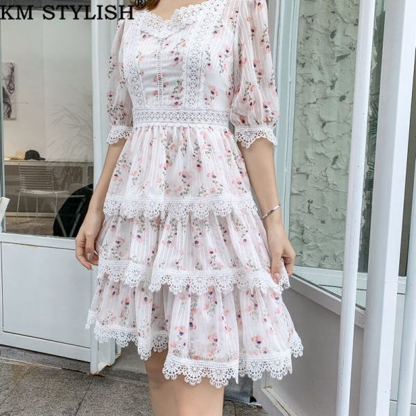 Australian Court Style Lady Casual Print Lace Stitch Cutout Half Sleeve High Waist Thin Layer Cake One-piece Dress