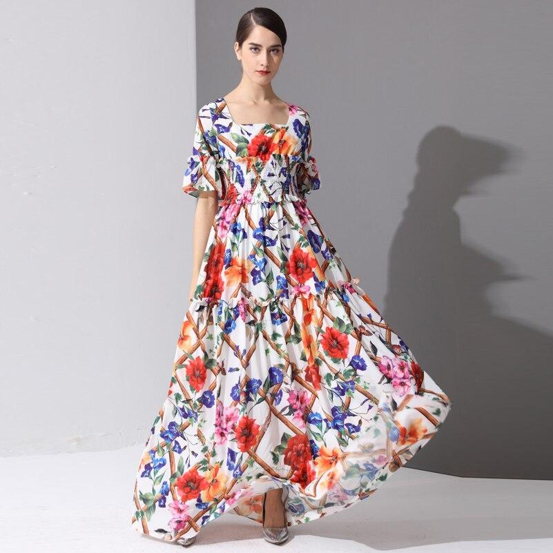 High Quality Fashion Designer runway Maxi Dresses Women's Half Sleeve Holiday amazing Floral Print Long Dress 3XL Plus Size