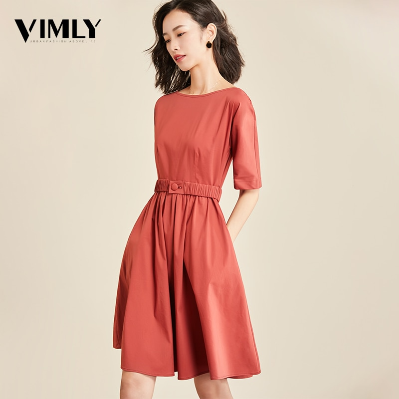 Vimly Casual Office Dress Half Sleeve Elegant Tunic Solid Dresses Female O Neck Zipper Belted A Line Dress Vestidos OL Style 1