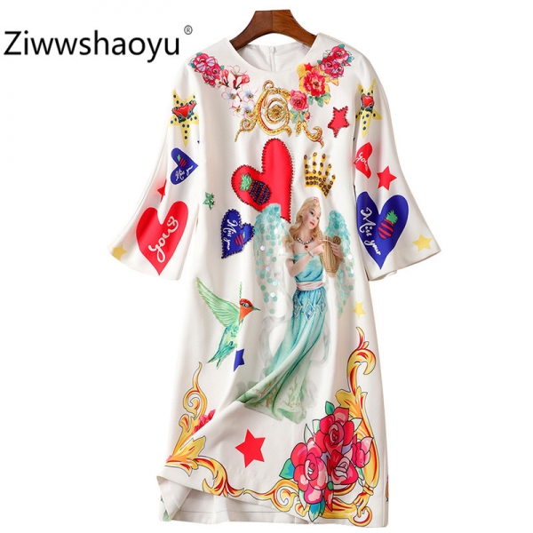 Ziwwshaoyu Fashion Autumn Winter Brand Diamond Sequin Angel Flower Print Half Sleeve Loose Dresses Women's