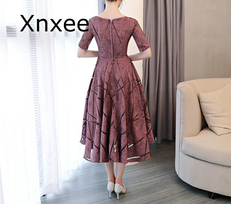 Xnxee Luxury O-Neck Half Sleeve Embroidery Zipper Dresses A-line Tea Length Formal Dress Vestido de novia 3