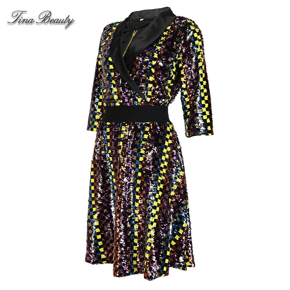 A Line Plaid Sequin Dress Female Autumn Elegant Glitter V-Neck Half Sleeve Mini Dresses Womens Party Dress Evening Vestido 2