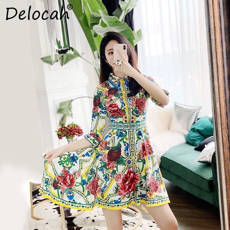 Delocah 19 Women Spring Summer Dress Runway Fashion Designer Half Sleeve Floral Print Beading Asymmetric Slim Elegant Dresses 2