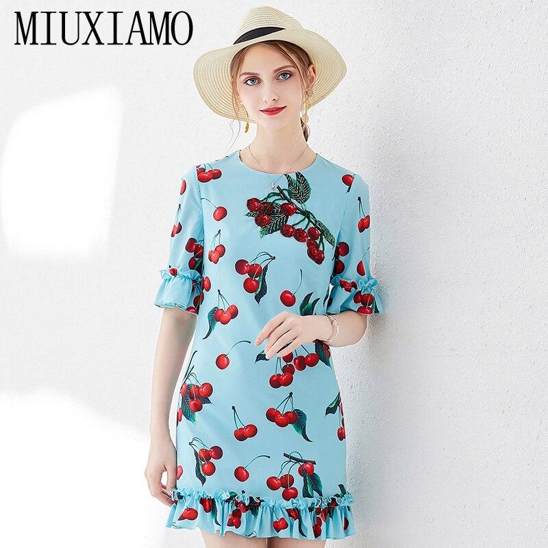 MIUXIMAO Top Quality 19 Ruway DesignFall Dress Newest Casual Dresses Women Cherryprint Ruffles Half Sleeve Dress Women 1