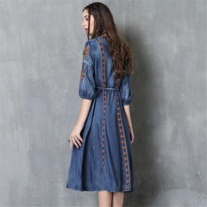 Autumn Denim Dress Clothing Women Jeans Lantern Half Sleeve Dress Vintage Spring Slim Cowboy Casual Long Dresses Blue A3819 3