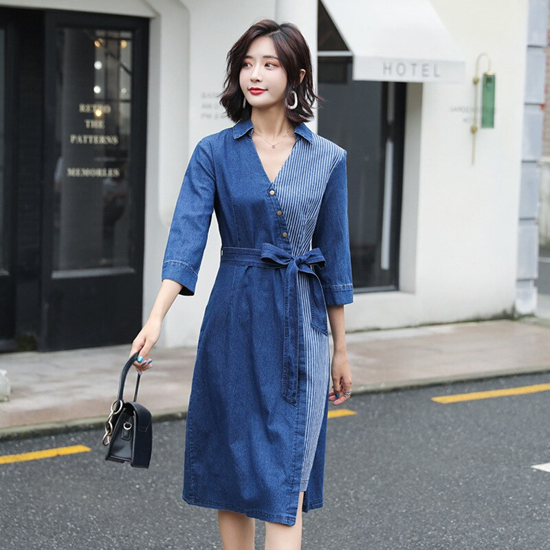 #2723 Denim Dresses For Women 19 Summer Jeans Dress Sexy Spliced Midi Dress V Neck Half Sleeve Dresses With Belt Plus Size 5XL 2