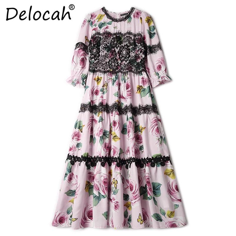 Delocah Women Spring Summer Dress Runway Fashion Designer Half Sleeve Gorgeous Lace Rose Printed Slim Knee-Length A-Line Dresses 3