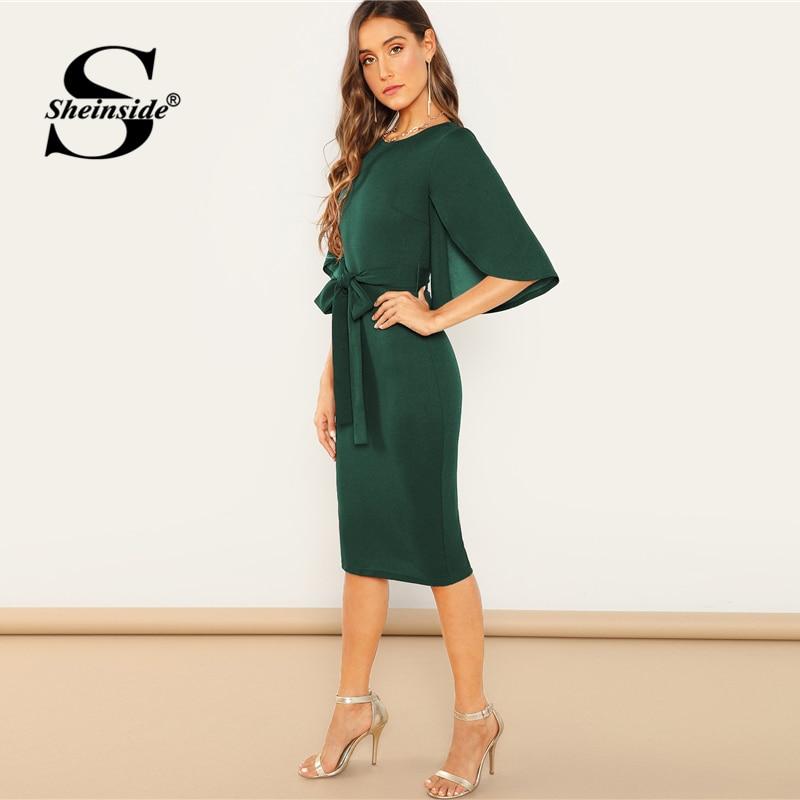 Sheinside Green Elegant Split Flutter Sleeve Pencil Dresses Women 19 Spring Knee Length Half Sleeve Dress Ladies Midi Dress 3