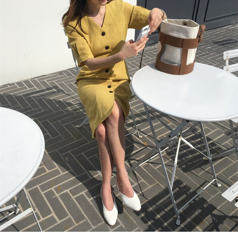 New Summer Dress Women Cotton Linen OL Casual Half Sleeve Dresses Female Dress V neck Solid Yellow Dress Boho Robe Femme Vestido 3