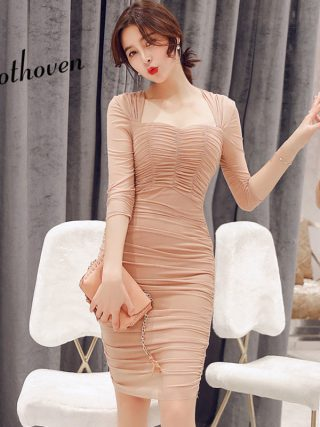Summer Club Dresses Square Collar Half Sleeve Draped High-end Women Dress Office Lady Sexy Party Vintage Bandage Bodycon Dress
