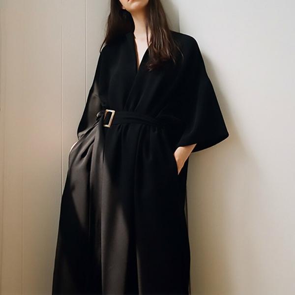 19 New Spring Summer V-Neck Half Sleeve Black Loose Waist Bandage Pocket Long Big Size Dress Women Fashion Tide B446