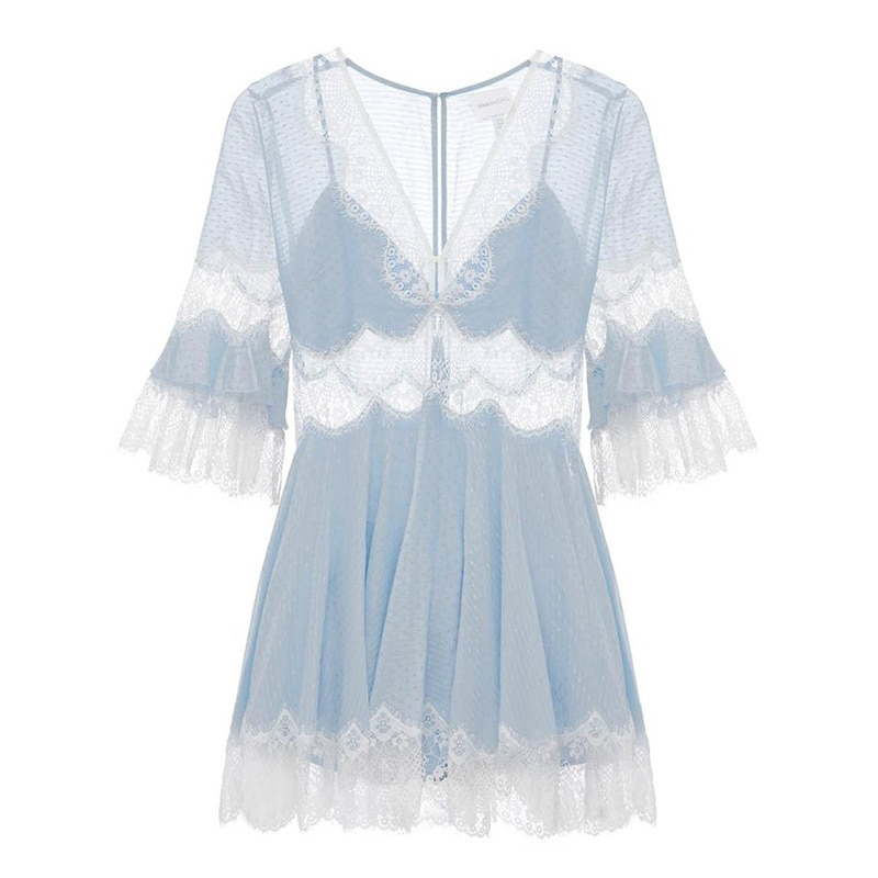 COLOREE 19 Women Blue/White Lace Mini Dress Sexy V-neck See-through Half Sleeve Sexy Dress For Female New Fashion Club Party 3