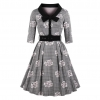 New Autumn Women's Vintage Flare Dress Bow Tie Belt Slim Plaid Rose Print Half Sleeves Dress Plus Size Large Swing Elegant Dress