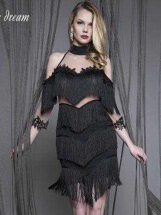 17 Summer new women dress half sleeves turtleneck dress sexy bodycon tassel mesh celebrity party black violet dresses vestidos