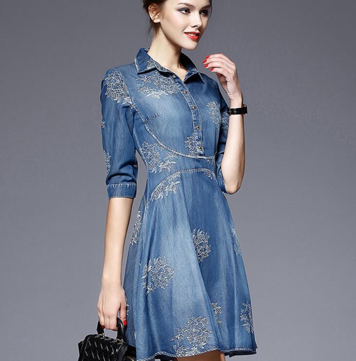 Autumn Vestidos Elegant Slim Half Sleeve Vintage Embroidery Denim Dresses 5XL Plus Size Women 2
