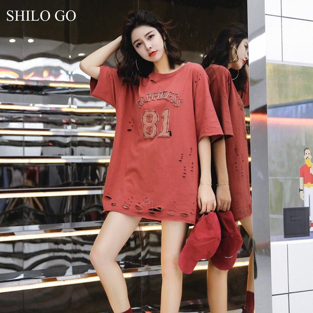 SHILO GO dress Womens Summer Fashion Concise Casual O Neck half Sleeve dress casual loose hole letter print dark color dress