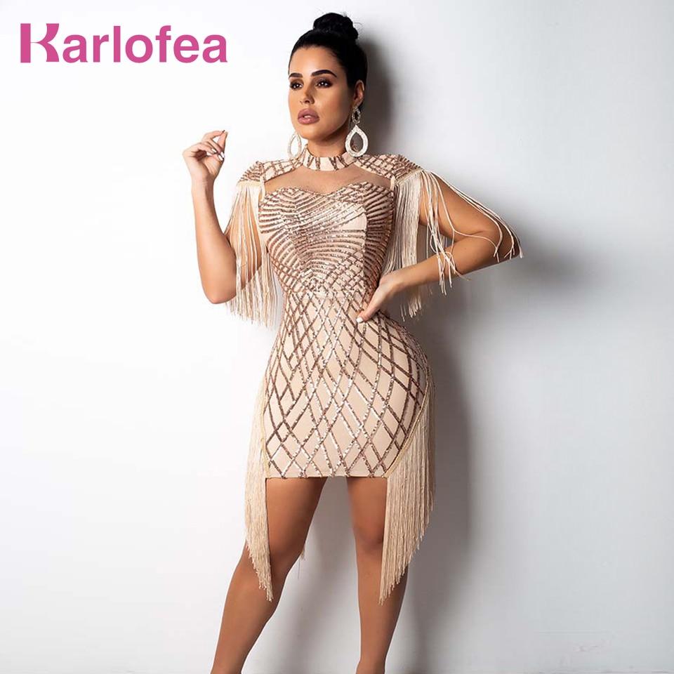 Karlofea New Tassel Cloak Sleeve Party Dress Sexy Hollow Out Sequin Bodycon Mini Dress Gold Club Birthday Fringe Women Dresses 1
