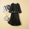 Women Dresses 19 High Quality Newest Designer Runway O-Neck Half Sleeve Patchwork Lace Elegant Dress Casual Dresses NP0762J