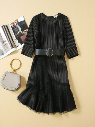 Women Dresses 19 High Quality Newest Designer Runway O-Neck Half Sleeve Patchwork Lace Elegant Dress Casual Dresses NP0762J