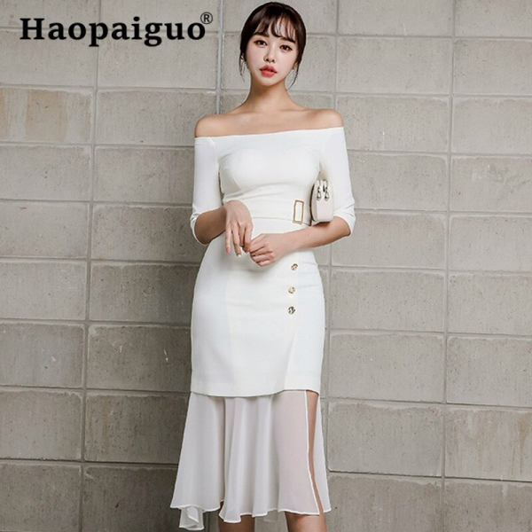 Chiffon Patchwork Slash Neck Wrap Dress Summer 19 Half Sleeve Casual Office Work Dress Women Trumpet Midi White Dresses Women