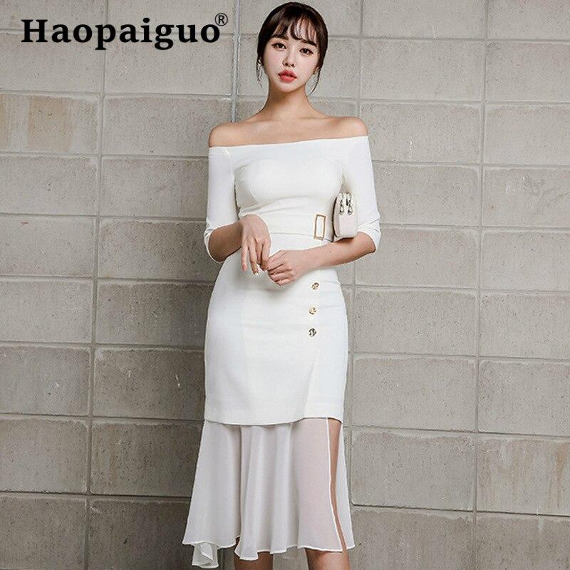 Chiffon Patchwork Slash Neck Wrap Dress Summer 19 Half Sleeve Casual Office Work Dress Women Trumpet Midi White Dresses Women