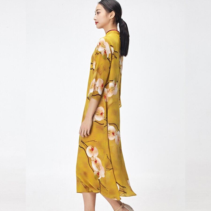 18 women silk dresses summer kleid floral printed nature silk vestidos half sleeve Long beach dresses loose sun dress yellow 3