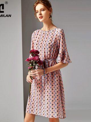 19 100% Silk Women's Runway O Neck Half Flare Sleeves Printed Sash Belt Floral Fashion Summer Dresses
