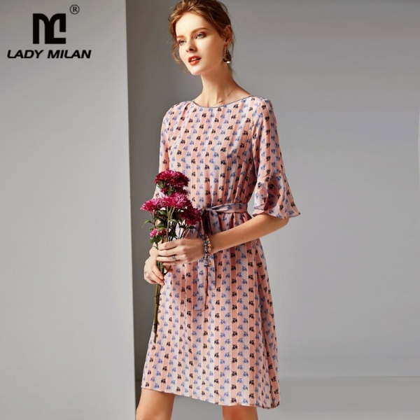 19 100% Silk Women's Runway O Neck Half Flare Sleeves Printed Sash Belt Floral Fashion Summer Dresses