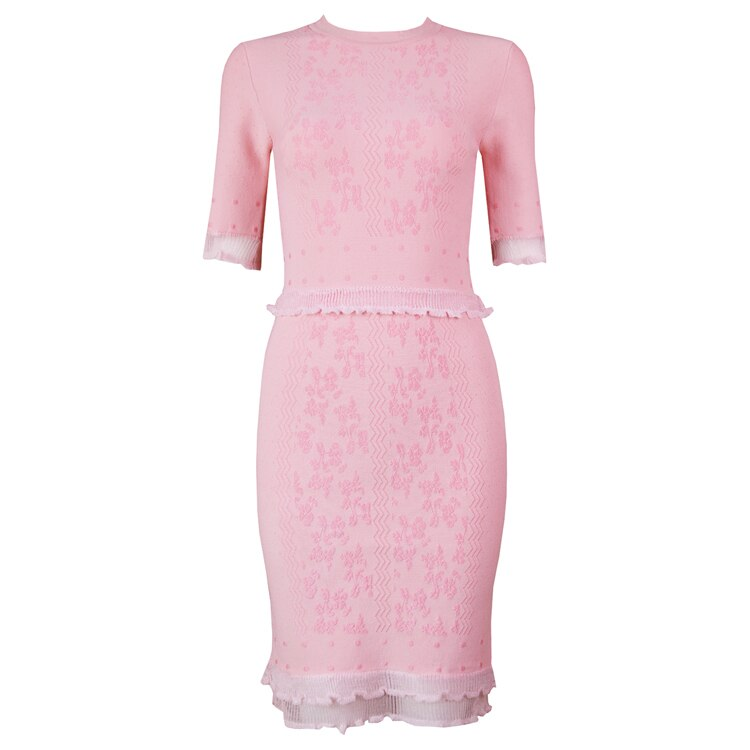 TOP Quality Vestidos Women Summer Dress Sexy Half Sleeve Jacquard Pink Bandage Dress Elegant Party Dress 1