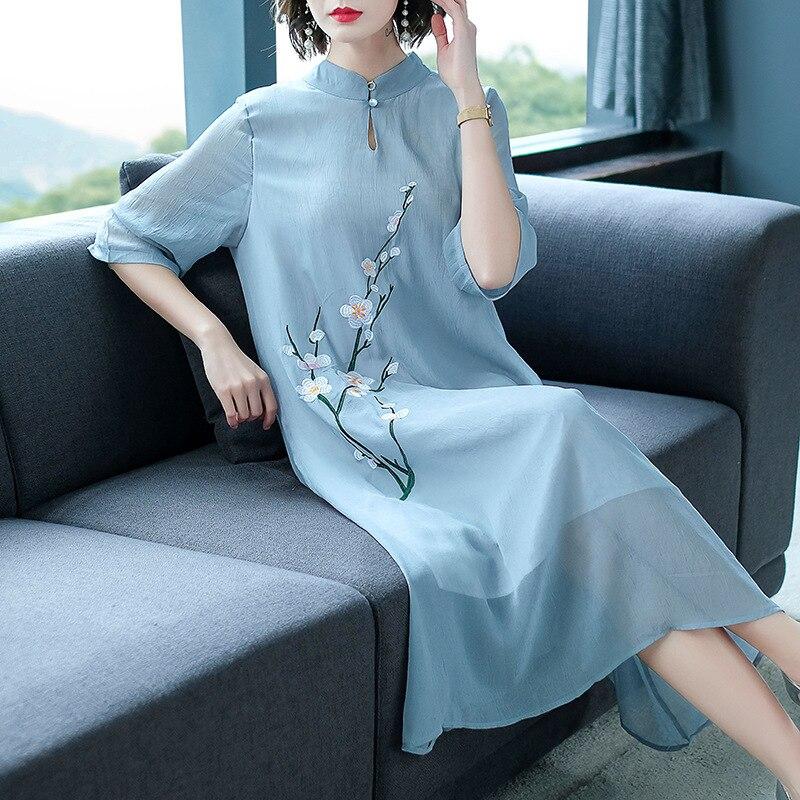 Women Dress Chinese Retro Style Plum Blossom Embroidery Summer Large Size Chiffon Dress Half Sleeve Knee-Length Collar Dresses 3