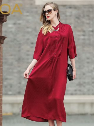 VOA red big code silk Casual dress female 17 Europe and America loose half sleeve silk dress A5978
