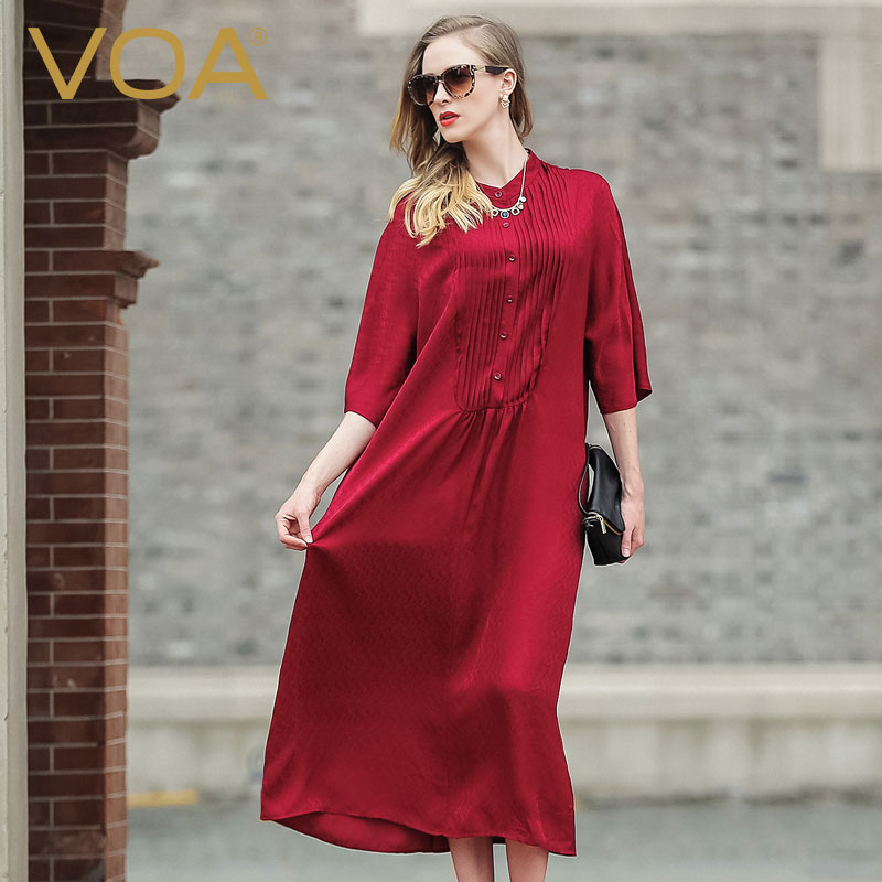 VOA red big code silk Casual dress female 17 Europe and America loose half sleeve silk dress A5978