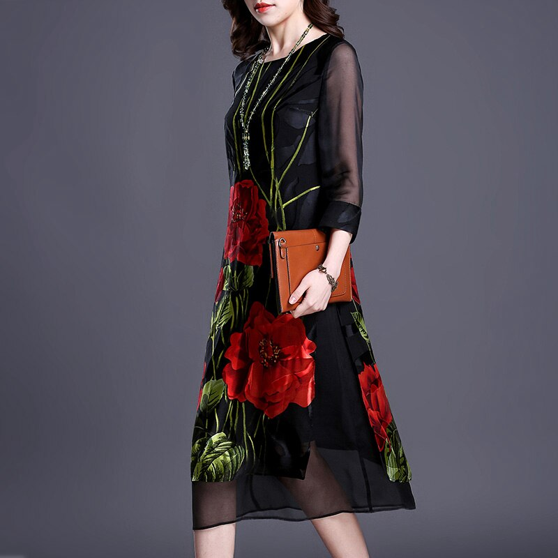 Imitate Real Silk Dresses Plus Size Vintage Loose Women Print A-Line Dress New Pattern Half Sleeves Dress Lady Nightclub Costume