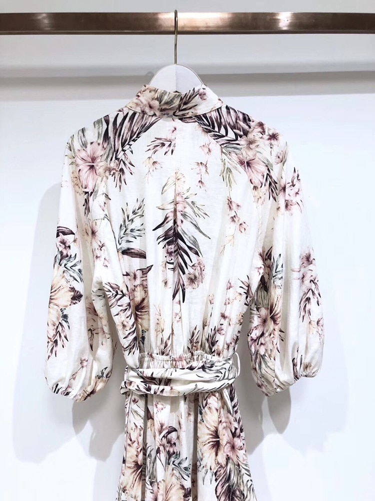 Ziwwshaoyu Linen elegant print bandage waist half sleeve dress stand collar drop shoulder puff sleeve dress 3