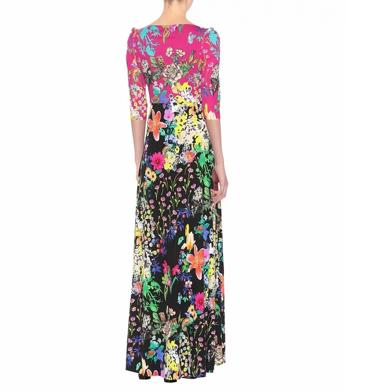 100%Silk Jersey Women Long Dress New 19 Spring Summer Women V-Neck Charming Flower Print Half Sleeve Slim Fit & Flare Dress 2