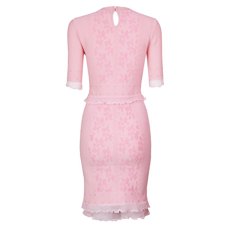 TOP Quality Vestidos Women Summer Dress Sexy Half Sleeve Jacquard Pink Bandage Dress Elegant Party Dress 3