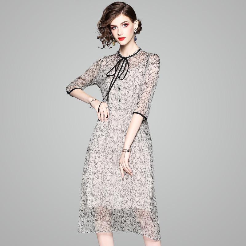 100% Natural Silk Dress Women Summer Fashion Printed O-Neck Half Sleeved Loose A-Line Two Piece Dress Midi M-XXL 1