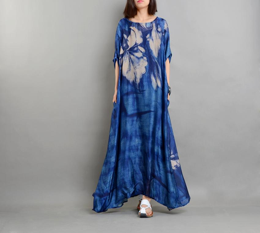 Real Chiffon Silk Runway Dress Women Summer Vintage Loose Printed Plus Size Dresses Top Quality Half Sleeves Vestidos with Slips 2