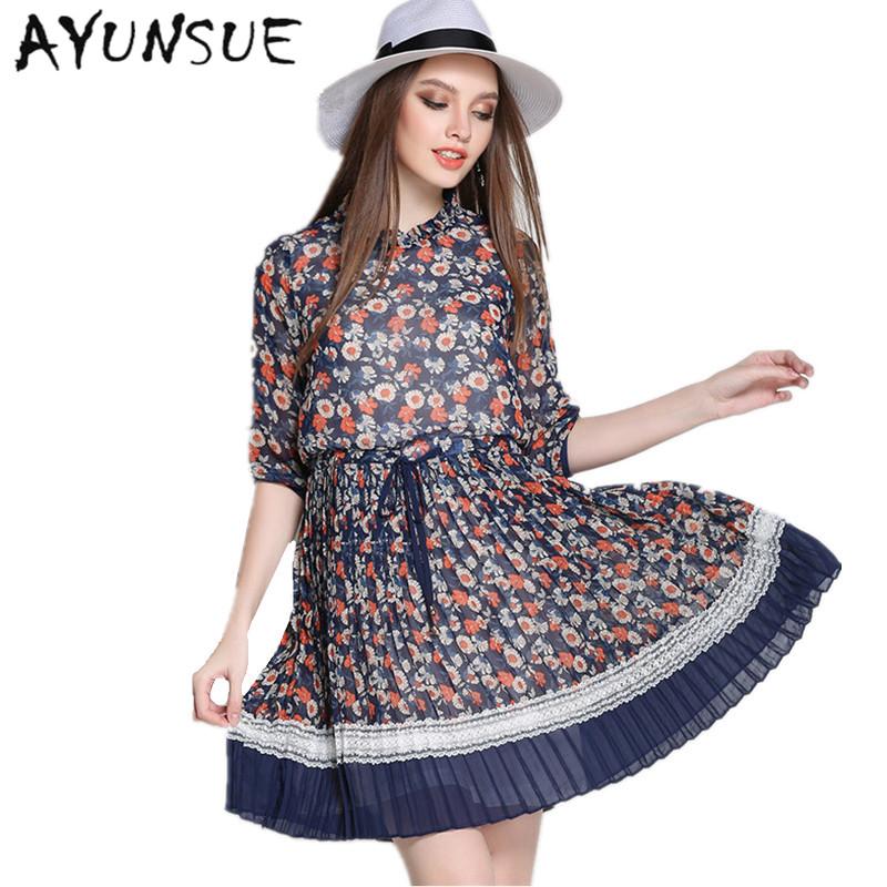 Half Sleeve Elegant Dress Women Chiffon Plus Size 5XL Blue Floral Dress Summer Dresses Casual Clothes Women Vestidos MujerFYY313
