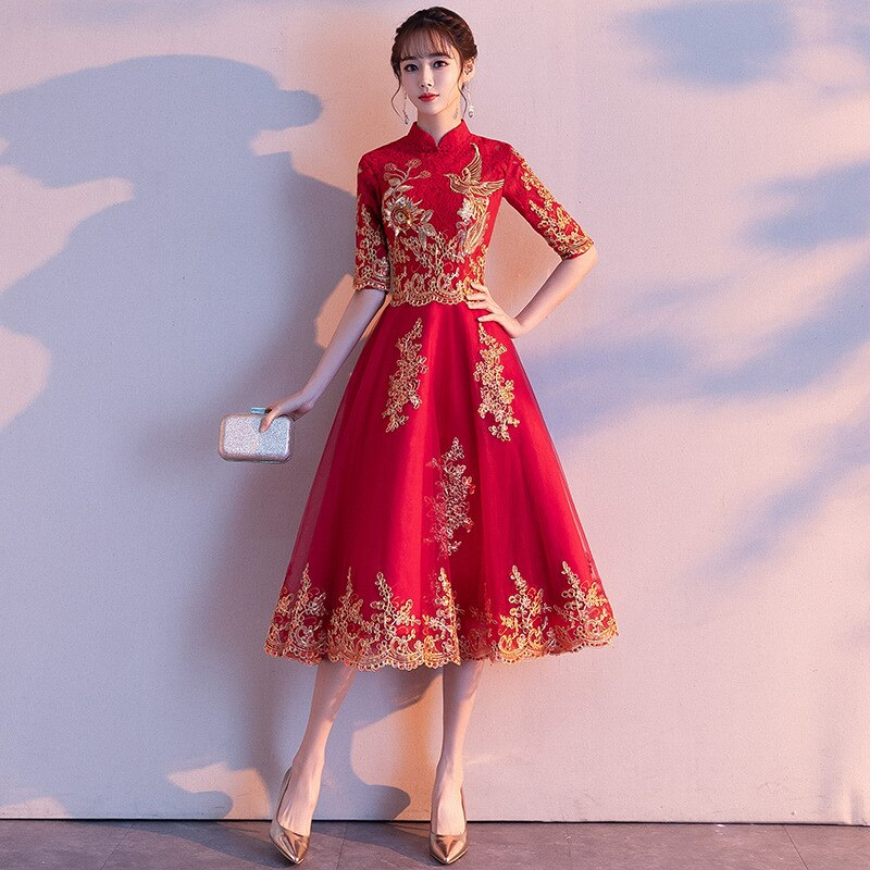 Red Womens Halter Half Sleeve Party Dress Chinese Style Lace Cheongsam Wedding Elegant Prom Maxi Qipao Long Gown Vestido XS-XXL 2