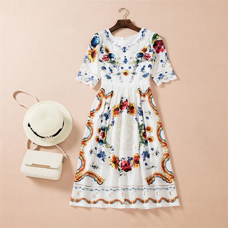 Women Summer Dress 18 High Quality Designer Runway O-neck Half Sleeve Embroidery Printed Elegant Party Dresses NPD0740 2