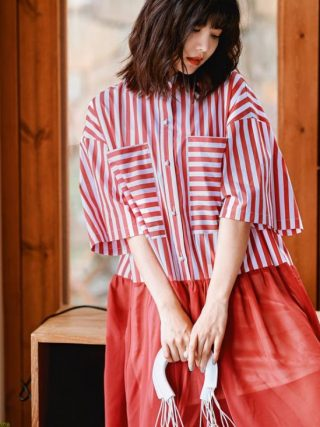 Runway Designer Stripe Shirt Dress Half Sleeve Button Down Patchwork Short Dress Women Summer Vestidos