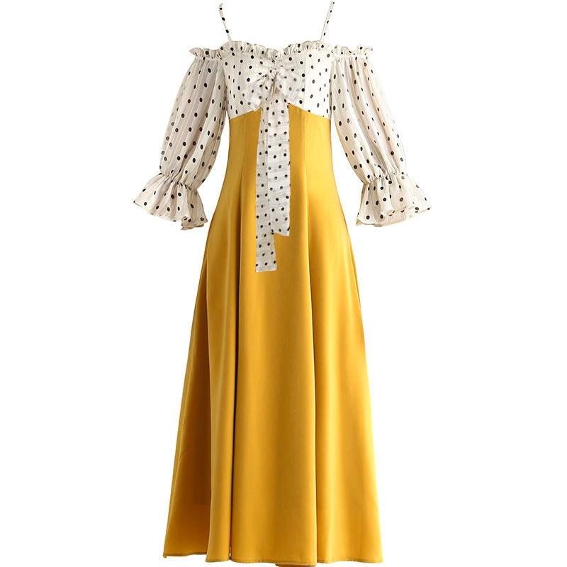 YOSIMI 19 Summer Slash Neck Off The Shoulder Long Women Dress Half Sleeve Party Dresses Print Dot Elegant Fake Set Mid-Calf 2