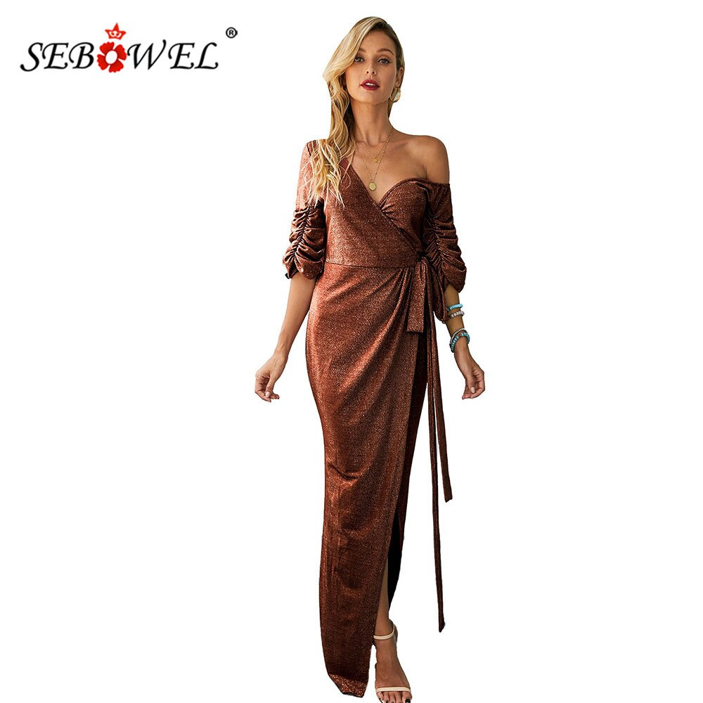 SEBOWEL V Neck Split Sequin Evening Prom Gown Wrapped Dress for Woman Party Night Ruched Puffy Half Sleeve Dresses with Sashes