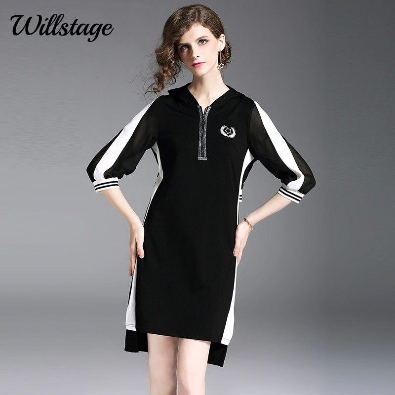 Willstage 18 Autumn Black Dresses Half sleeve Elegant Irregular Dress with hoodies Women Striped Patchwork Casual Vestidos 1