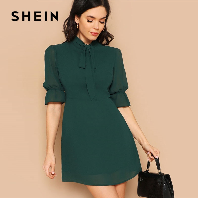 SHEIN Lady Green Elegant Tie Neck Stand Collar Flounce Sleeve Mini Dress Spring Solid Half Sleeve Ruffle Trim A Line Dress 1